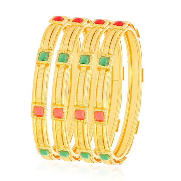 Alloy Bangle Set in Red and Green