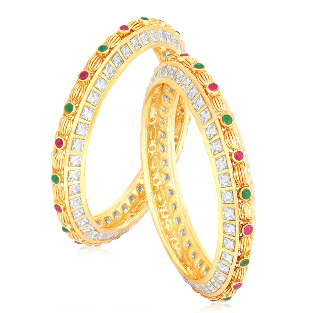 Sukkhi Alloy Bangle Set in Pink and Green