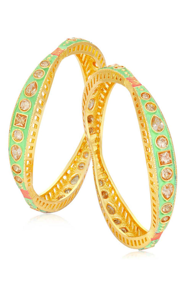 Alloy Bangle Set in Green