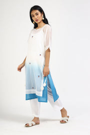 Kota Art Silk Straight Kurta with Pant in White
