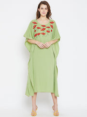 Bitterlime Women's Crepe Kaftan Dress in Green