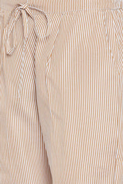 Bitterlime Cotton Blend Striped Kurta Pant Set in Brown