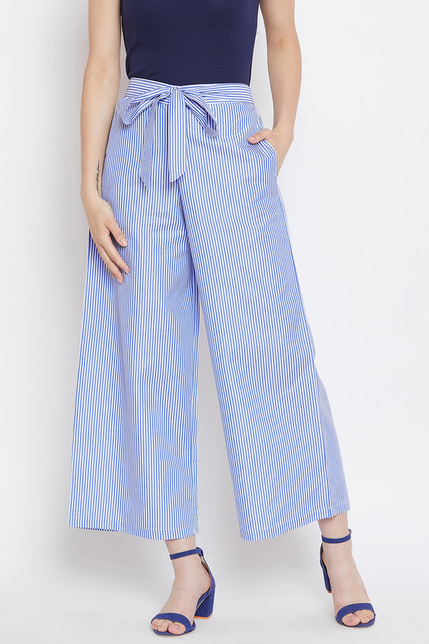 Blended Cotton Trouser in Blue
