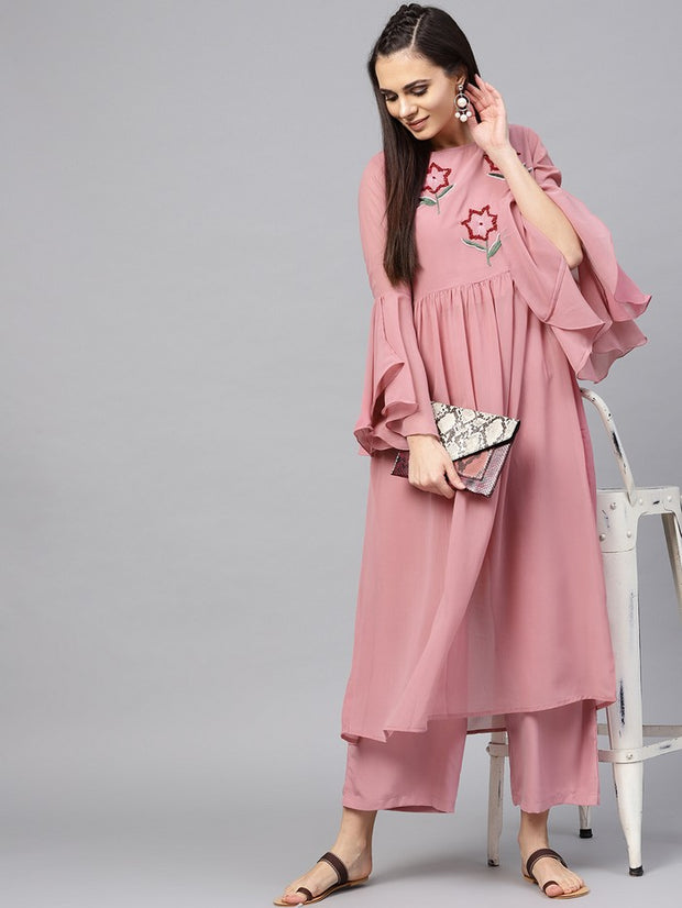 Embroidered Kurta With Trouser in Pink