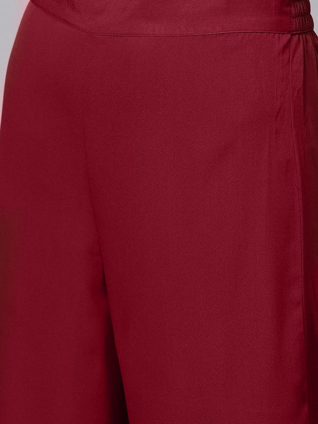 Embroidered Kurta With Trouser in Maroon