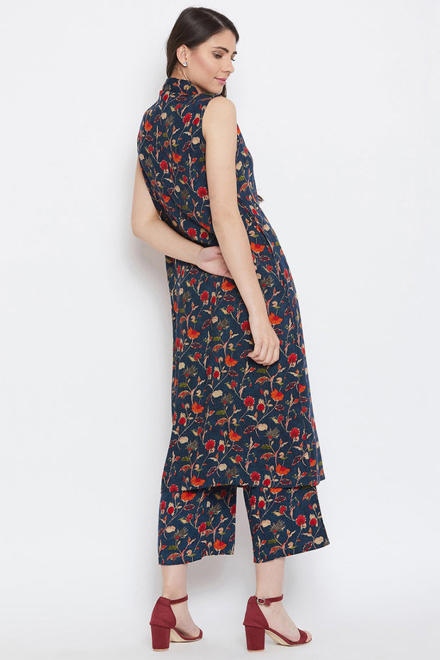 Rayon Printed Kurta Pant Set in Navy Blue