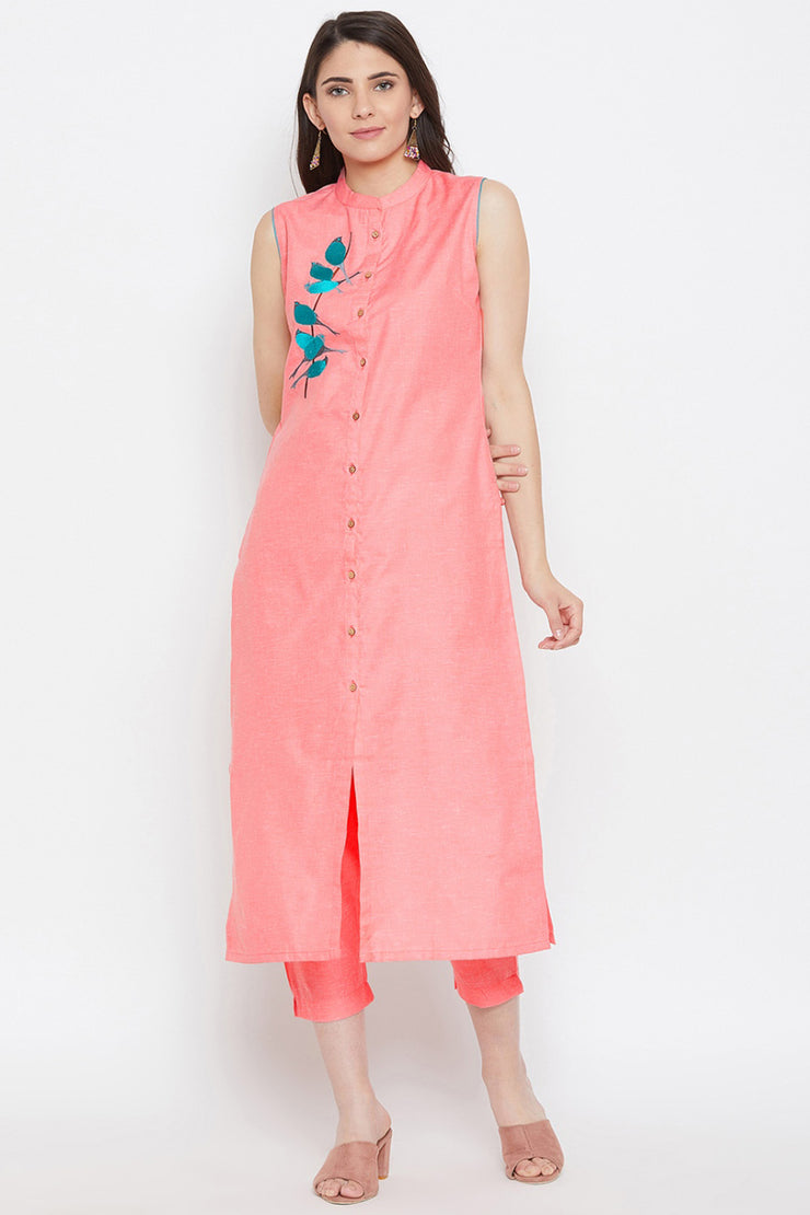 Polyester Embroidered Kurta Pant Set in Peach