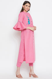 Polyester Embroidered Kurta Pant Set in Pink