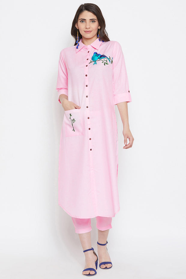 Bitterlime Polyester Embroidered Kurta Pant Set in Pink