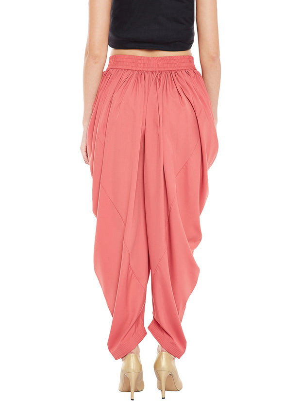 Crepe Solid Dhoti in Peach