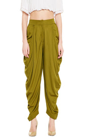 Bitterlime Women's Crepe Solid Dhoti in Olive