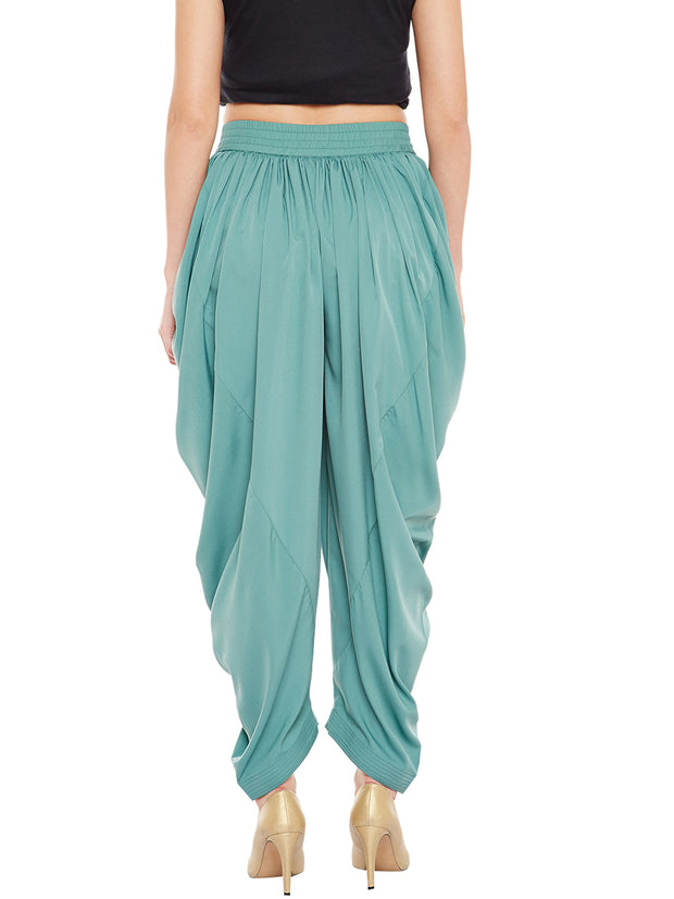 Crepe Solid Dhoti in Teal Green
