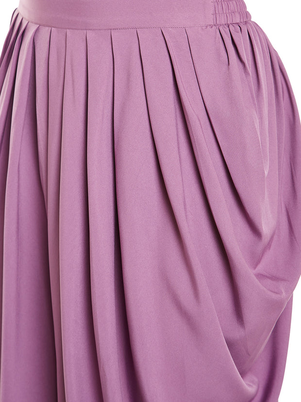 Bitterlime Crepe Solid Dhoti in Purple