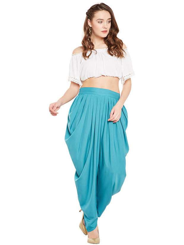 Crepe Solid Dhoti in Sea Green