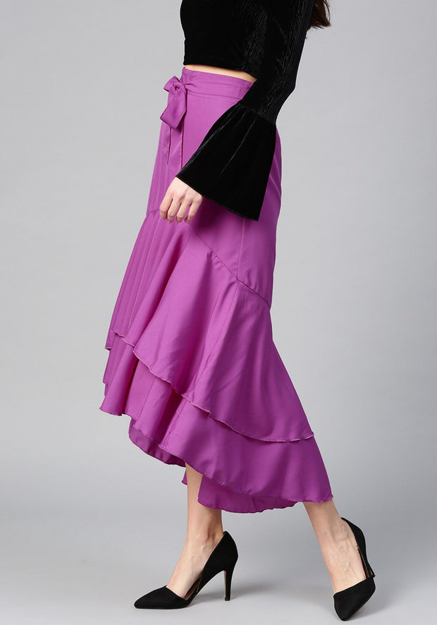 Women's Polyester Skirt in Purple