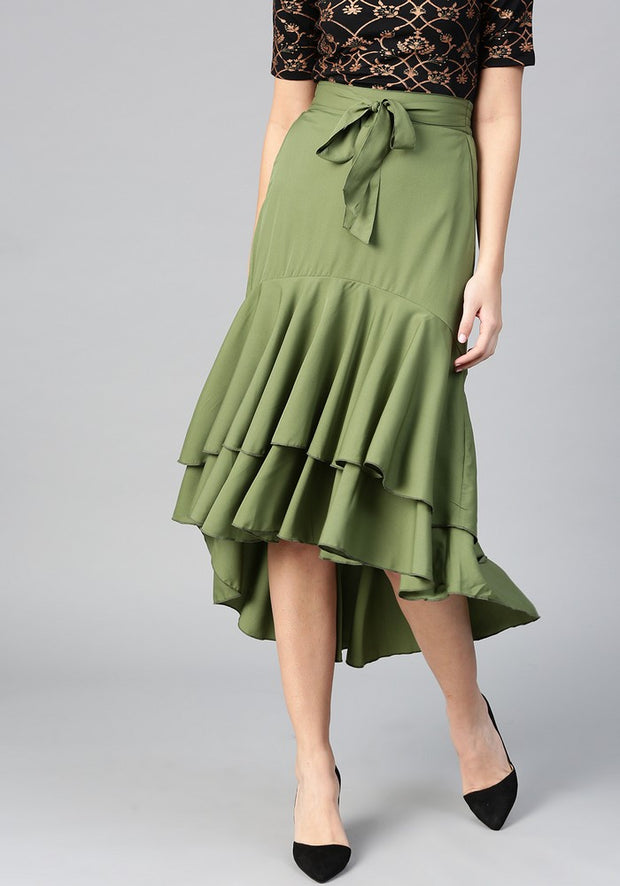 Bitterlime Women's Polyester Skirt in Olive