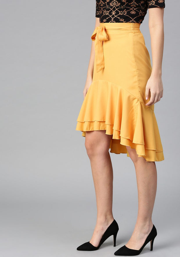 Women's Polyester Skirt in Mustard