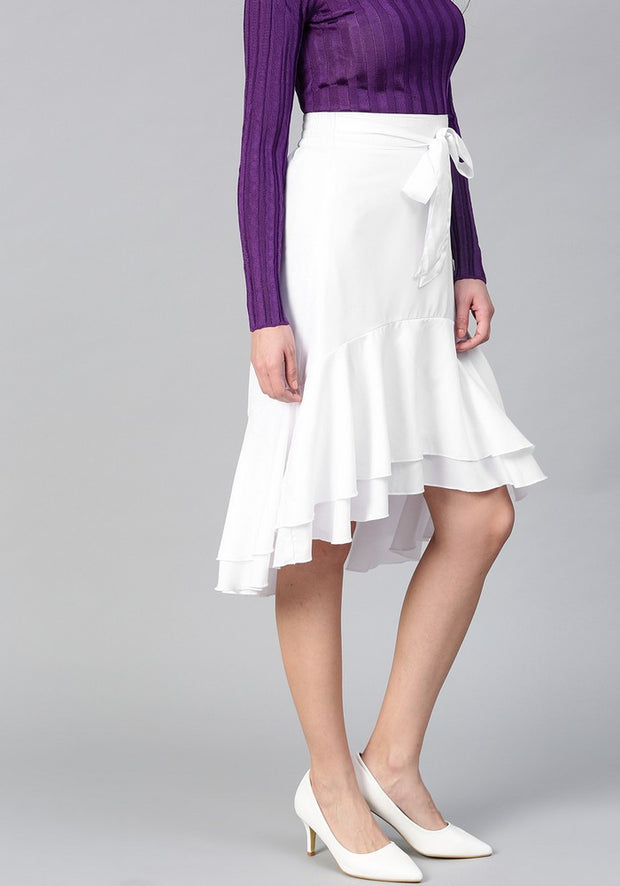 Women's Polyester Skirt in White