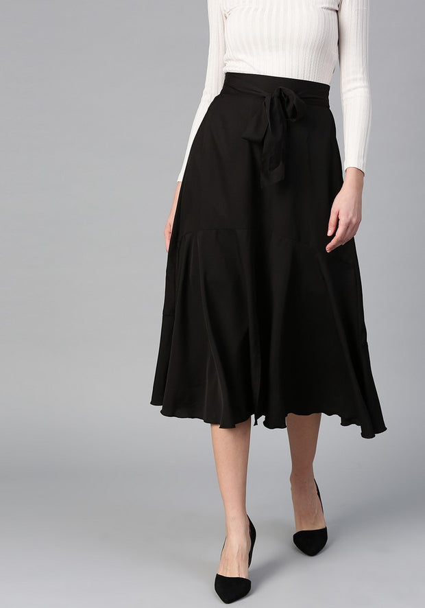 Women's Polyester Skirt in Black