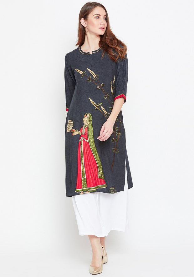 Bitterlime Women's Viscose Rayon Kurta and Palazzo Set in Grey