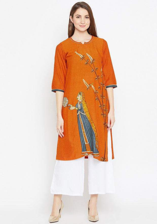 Bitterlime Women's Viscose Rayon Kurta and Palazzo Set in Rust