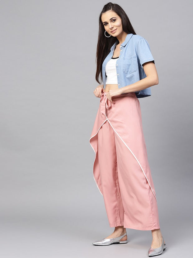 Polyester Trousers in Peach