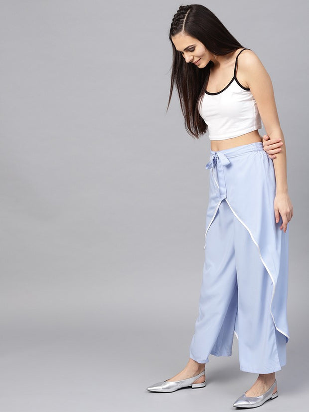 Polyester Trousers in Blue