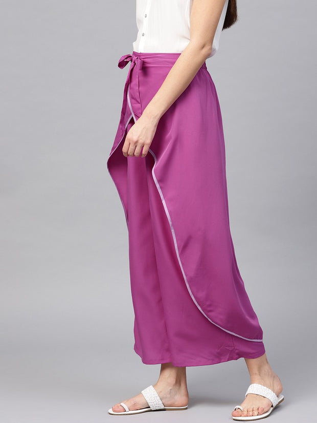 Polyester Trousers in Purple