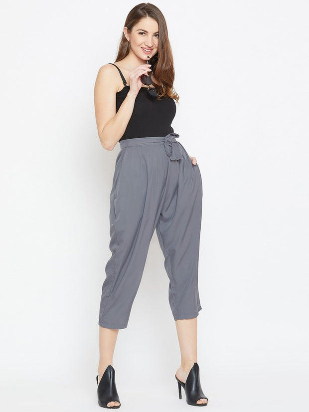 Drop Crotch Trousers in Grey