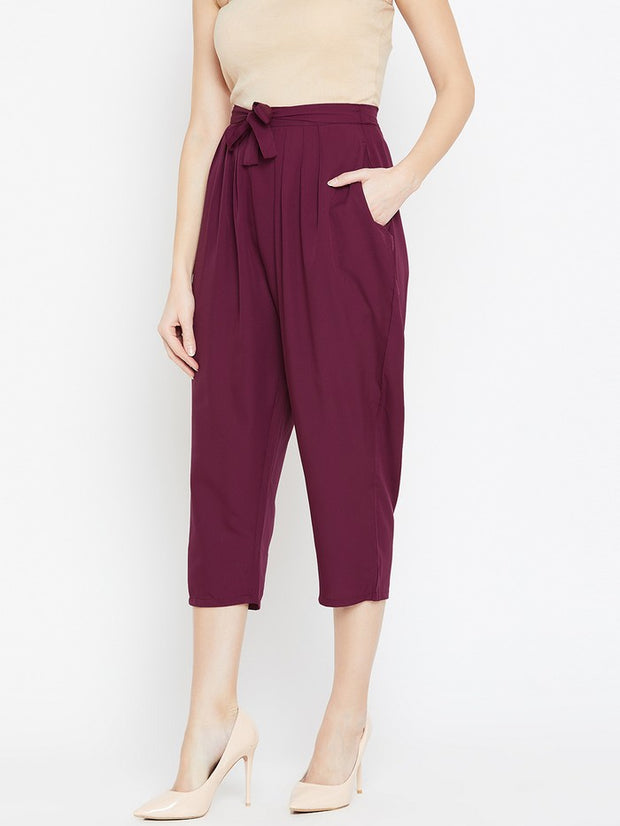 Drop Crotch Trousers in Burgundy
