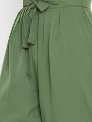 Drop Crotch Trousers in Olive