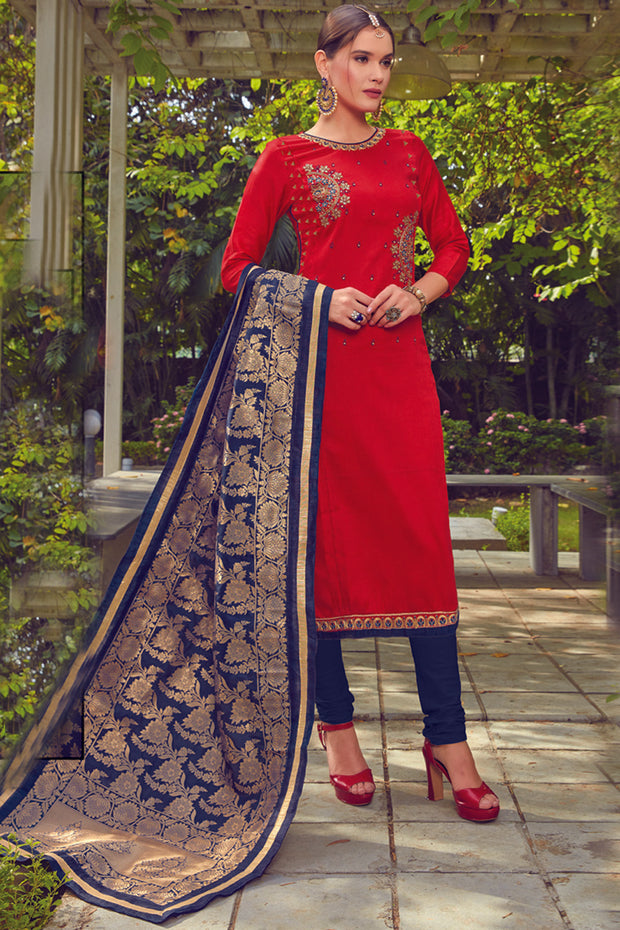 Blended Cotton Embroidered Dress Material in Red