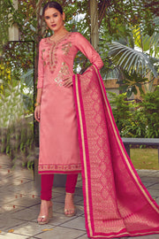 Blended Cotton Embroidered Dress Material in Light Pink