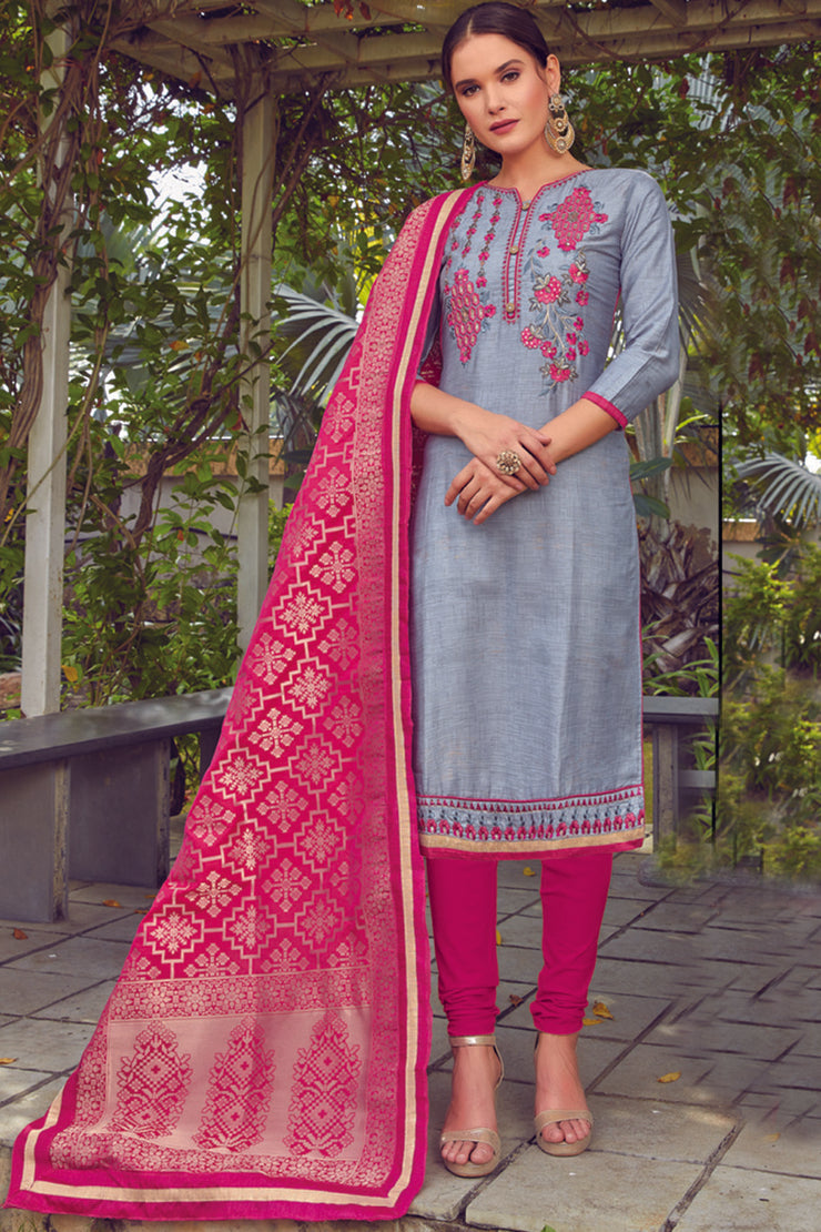 Blended Cotton Embroidered Dress Material in Light Grey