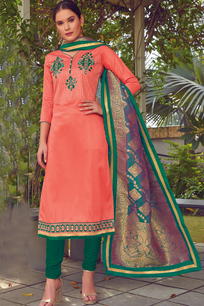 Blended Cotton Embroidered Dress Material in Light Peach