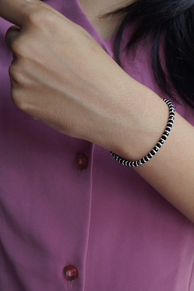 Women's Sterling Silver Bracelet in Black and Silver