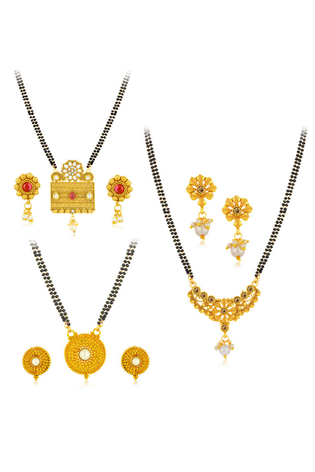 Sukkhi Alloy Mangalsutra Set in Gold