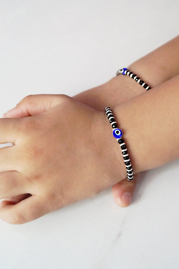 Women's Sterling Silver Bracelet in Black and Blue