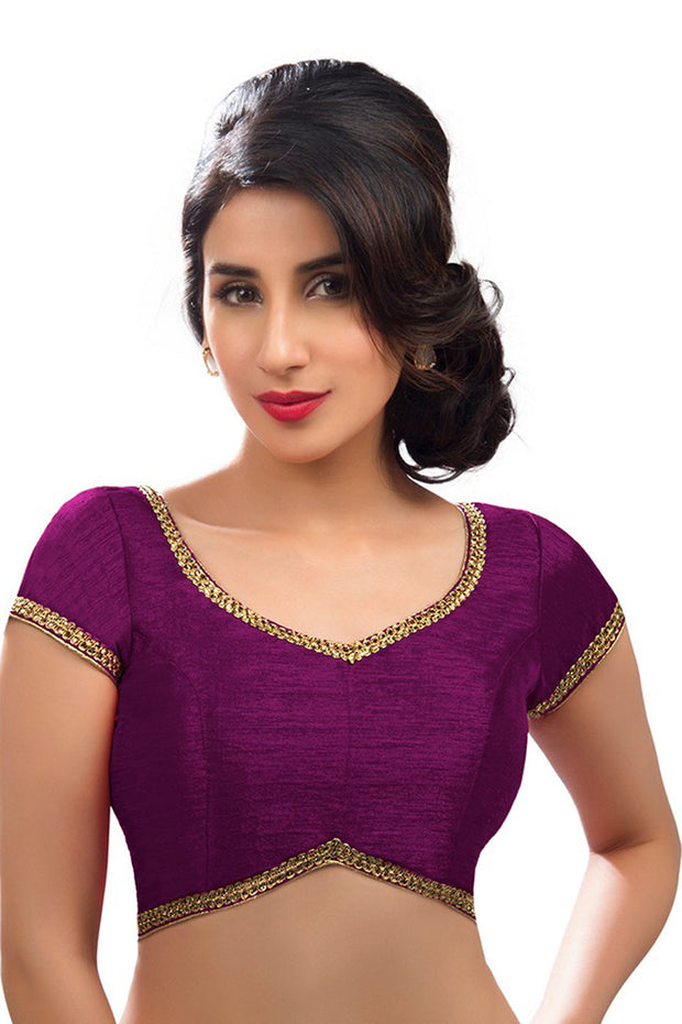 Art Silk Padded Blouse in Wine