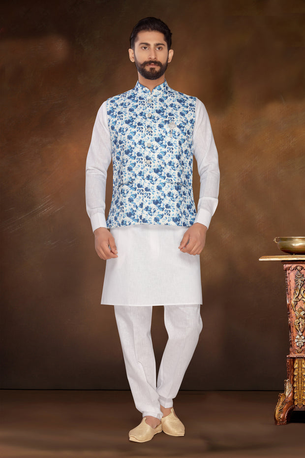 Atool Men's Jute Nehru Jacket with Kurta Pyjama Set in Blue