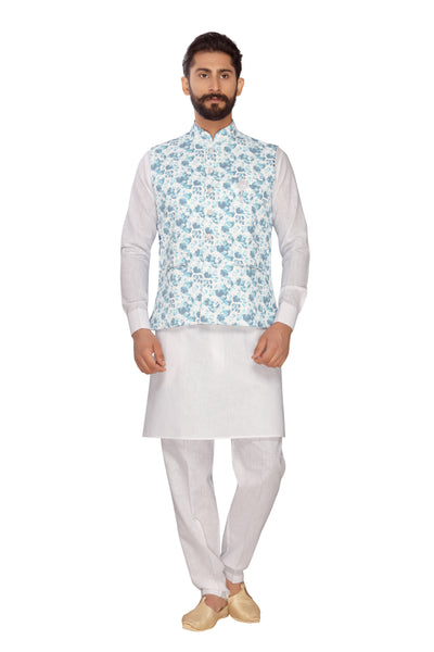 Atool Men's Jute Nehru Jacket with Kurta Pyjama Set in Sky Blue