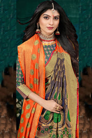 Art Silk Zari Saree in Orange