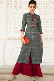 Rayon Weaving Kurta Set in Grey