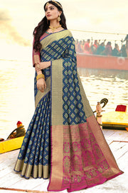 Art Silk Zari Saree in Navy Blue