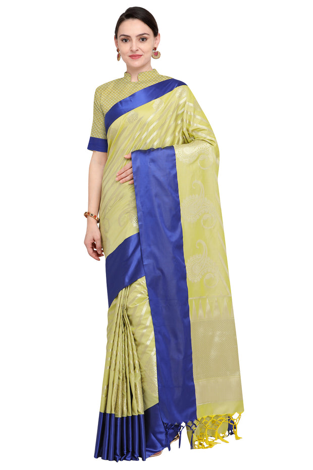 Art Silk Katan Woven Design Saree in Lime Green