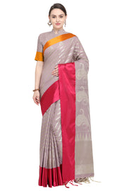 Art Silk Katan Woven Design Saree in Lavender