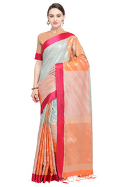 Art Silk Katan Woven Design Saree in Orange and Sky Blue