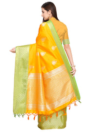 Art Silk Katan Woven Design Saree in Mustard Yellow