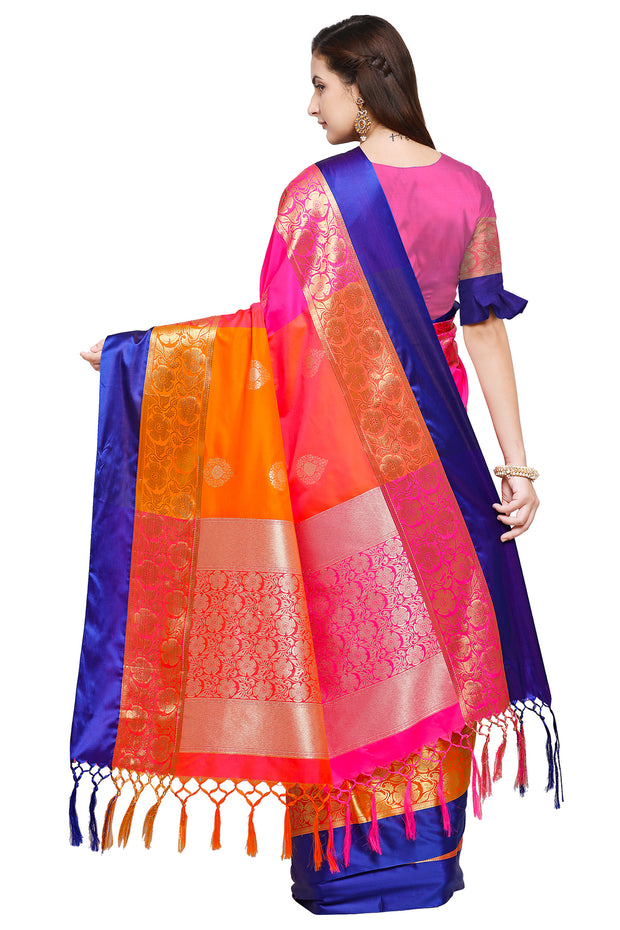 Art Silk Katan Woven Design Saree in Magenta and Orange