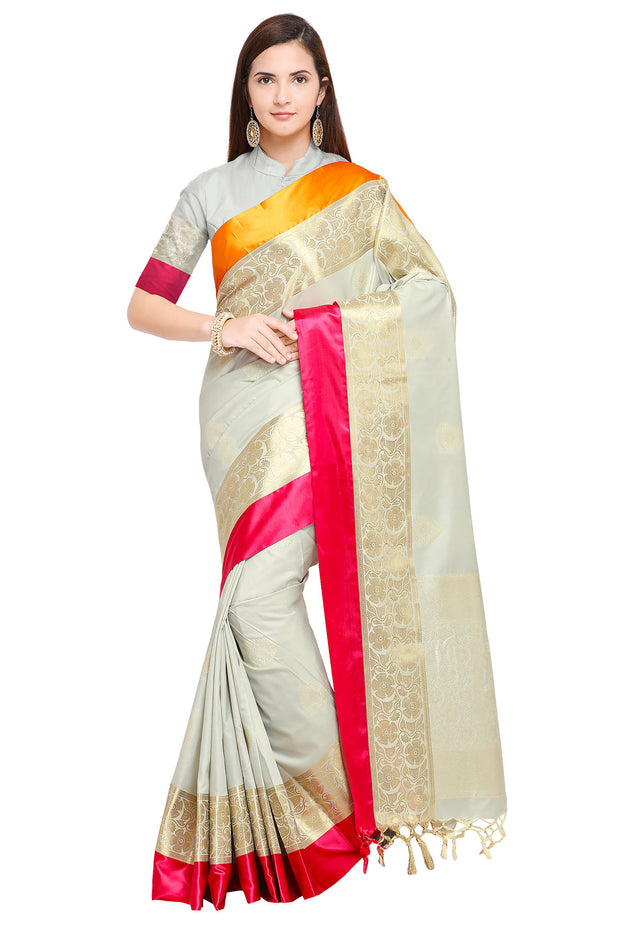 Art Silk Katan Woven Design Saree in Grey
